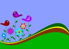 Colorful flowers and birds. Such as the desire Royalty Free Stock Image