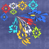 Colorful flowers on blue background. Stock Image