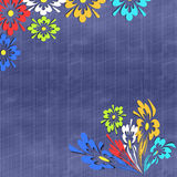Colorful flowers on blue background. Royalty Free Stock Photo
