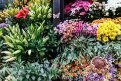 Colorful flowers in bouqets from a florist Royalty Free Stock Photography