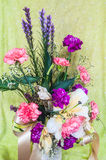 Colorful flowers bouquet on green Royalty Free Stock Images