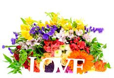 Colorful Flowers Bouquet Isolated on White Stock Photo