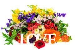Colorful Flowers Bouquet Isolated on White Royalty Free Stock Images