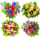 Colorful flowers bouquet over white Stock Photos