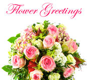 Colorful flowers bouquet. pink roses Royalty Free Stock Image