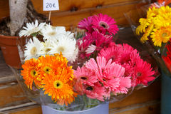 Colorful flowers bouquets from a shop. Colorful beautiful flowers from the florist's shop stock photos