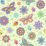 Colorful flowers, butterflies and ladybugs Stock Photo