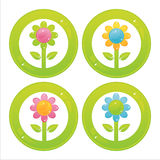 Colorful flowers buttons Royalty Free Stock Photos