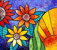 Colorful flowers canvas digital painting artwork royalty free illustration