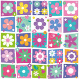 Colorful flowers collection pattern Royalty Free Stock Image