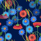 Colorful flowers of color pencil. Mystical floral seamless pattern on a dark blue background. vector illustration