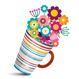 Colorful Flowers in Cup Vector Illustration. Colorful Flowers in Cup. Vector Illustration stock illustration