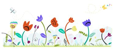 Spring time colorful abstract cute flowers. Spring floral background. Colorful flowers field in spring time with abstract flowers Stock Images