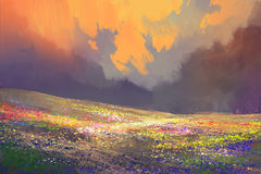 Colorful flowers in field under beautiful clouds. Landscape painting Royalty Free Stock Photo
