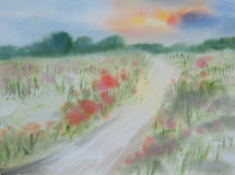 Colorful flowers field, watercolor painting Royalty Free Stock Image