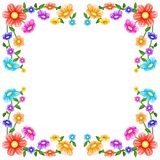 Colorful flowers frame. On white background Stock Photo