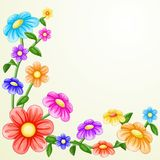 Colorful flowers frame. On white background Stock Image