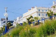 Colorful flowers along the seaside in Eastbourne, United Kingdom. Colorful flowers in front of the buildings along the seaside in Eastbourne, Sussex, United Royalty Free Stock Photography