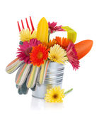 Colorful flowers and garden tools Royalty Free Stock Photo