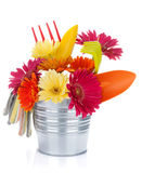Colorful flowers and garden tools Stock Photography