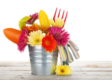Colorful flowers and garden tools Royalty Free Stock Image