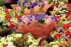 Colorful Flowers Gift  Bouquets Background Royalty Free Stock Images