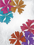 Colorful Flowers Grey Card_eps. Illustration of card with colorful flowers on grey and white flowers silhouette background Stock Photography