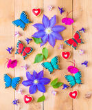 Colorful flowers and homemade cookies floral composition. Stock Images