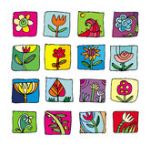 Colorful flowers icons. Bright set of different flowers pictocrams Stock Photo