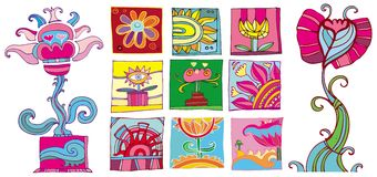 Colorful flowers icons. Bright set of different flowers pictocram. Abstract background. To see similar design elements, please visit my gallery Vector Illustration
