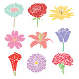 Colorful flowers illustration Stock Photos