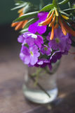 Colorful flowers inside a glass jar Royalty Free Stock Photos