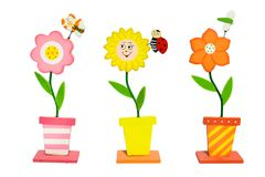 Colorful flowers inventions. With butterfly, dragonfly, bug royalty free stock photography