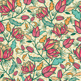 Colorful flowers and leaves seamless pattern Stock Images