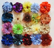 Colorful flowers made from different colors fabric, Lithuania stock photo