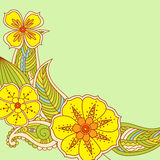 Colorful flowers in Mehendi style on green background. Royalty Free Stock Photos