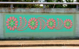 Colorful Flowers Mural On James Road in Memphis, Tennessee. Stock Photos