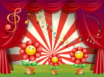 The colorful flowers with musical notes at the stage Stock Photos