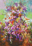 Colorful flowers painting. Bouquet of colorful flowers in pot,digital painting Royalty Free Stock Photo