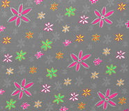 Colorful flowers pattern. Grey pattern with colorful flowers stock illustration