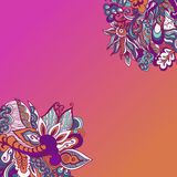 Colorful flowers pattern background. Floral frame. Vector illustration Stock Photography