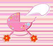 Colorful flowers perambulator for baby girl card Stock Photo