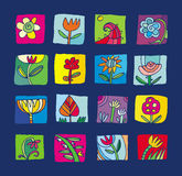 Colorful flowers pictograms. Bright set of different flowers pictocrams on blue background Royalty Free Stock Images