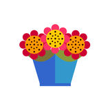 Colorful flowers in pot on white background  Stock Images