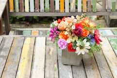 Colorful flowers pots decoration Stock Image