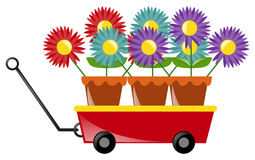 Colorful flowers on red wagon Stock Photography
