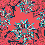 Colorful flowers seamless pattern. Floral frame. Vector illustration Stock Photo