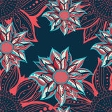 Colorful flowers seamless pattern. Floral frame. Vector illustration Royalty Free Stock Photos