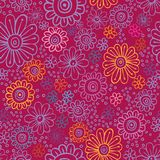Colorful flowers seamless texture. Seamless texture with multicolored flowers, hand-drawn Royalty Free Stock Photos