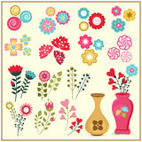 Colorful flowers set. Royalty Free Stock Photos
